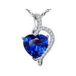 Mabella  Sterling Silver 4.10 Cttw Heart Cut Created Blue Sapphire Pendant with 18inch Chain