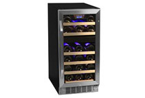 26-Bottle, Dual Zone, Stainless Steel, Wine Cooler