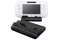 Black Cradle Charging Station + 3-Pack Reusable Screen Protector Compatible with Nintendo Wii U Gamepad