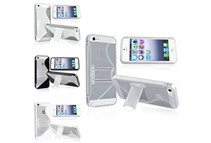 4 Pack of S Shape TPU Case w/ Stand Case Combo compatible with Apple iPhone 5, Clear / Smoke / White / Black
