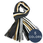 DAHLIA Men's Striped Tassel End Knitted Long Scarf