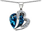 STAR K 10.30 cttw Heart Shape 12mm Simulated Blue Topaz Pendant