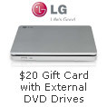 Free $20 Gift Card with select LG External DVD Drives