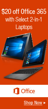 $20 off Office 365 with Select 2-in-1 Laptops