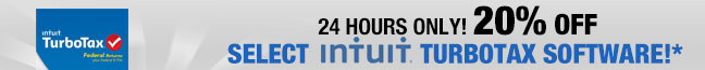 24 hours only! 20% off select Intuit TurboTax software