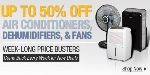 50% off ACs, Dehumidifiers, & Fans