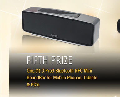 Fifth Prize One (1) O'Pro9 Bluetooth NFC Mini SoundBar for Mobile Phones, Tablets & PC's
