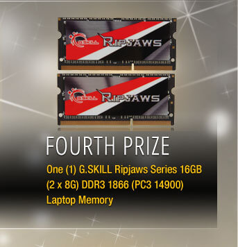 Fourth Prize One (1) G.SKILL Ripjaws Series 16GB (2 x 8G) DDR3 1866 (PC3 14900) Laptop Memory