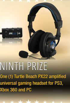 Ninth Prize One (1) Turtle Beach PX22 amplified universal gaming headset for PS3, Xbox 360 and PC