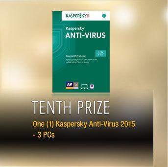 Tenth Prize One (1) Kaspersky Anti-Virus 2015 - 3 PCs