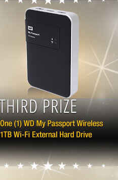 Third Prize One (1) WD My Passport Wireless 1TB Wi-Fi External Hard Drive