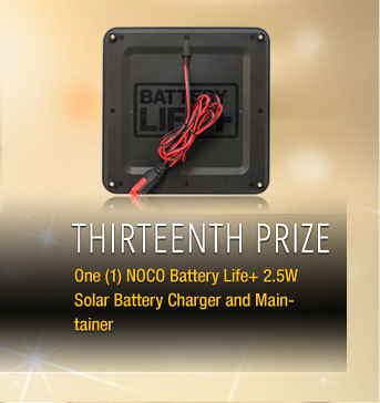 Thirteenth Prize One (1) NOCO Battery Life+ 2.5W Solar Battery Charger and Maintainer