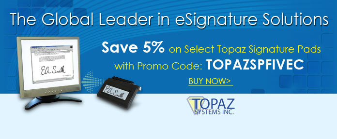 Save 5% on Select Topaz Signature Pads with promo code