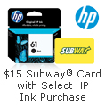 $15 Subway Card with Select HP Ink Purchase