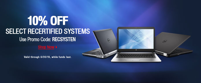 10% off select recertified systems use promo code