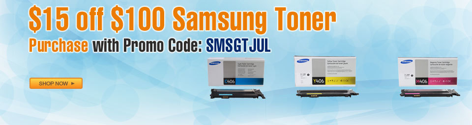 $15 off $100 Samsung Toner Purchase with Promo Code: SMSGTJUL