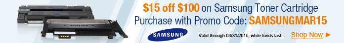 $15 off $100 Toner Purchase