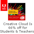Creative cloud is 66% off for students and teachers