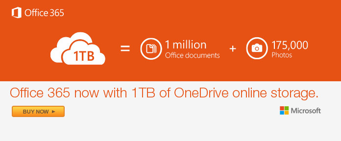 Office 365 With 1TB of OneDrive Online Storage