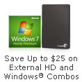 Save Up to $25 on External Hard Drive and Windows Combos