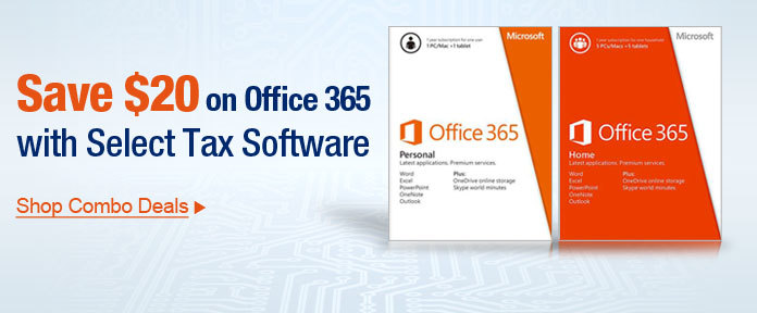 Save 20% on office 365 with select tax software
