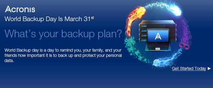 Acronis World Backup Day is March 31