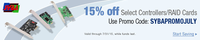 15% off Select Controllers/RAID Cards