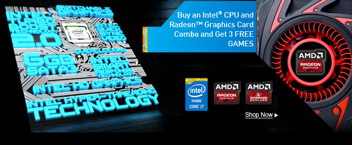 Buy an Intel CPU and Radeon Graphics Card Combo and Get 3 FREE GAMES