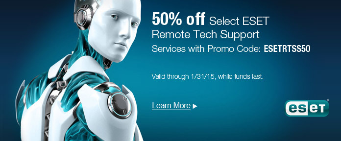 50% off select ESET Remote Tech Support