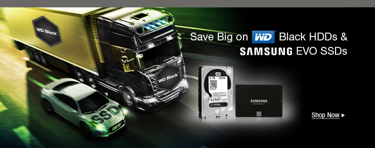 Save Big on WD Black HDDs & Samsung EVO SSDs