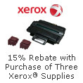 Get a 15% Rebate When You Buy Any Three Eligible Genuine Xerox Supplies
